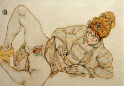 Egon Schiele Liegende Entlte Art Print Canvas on