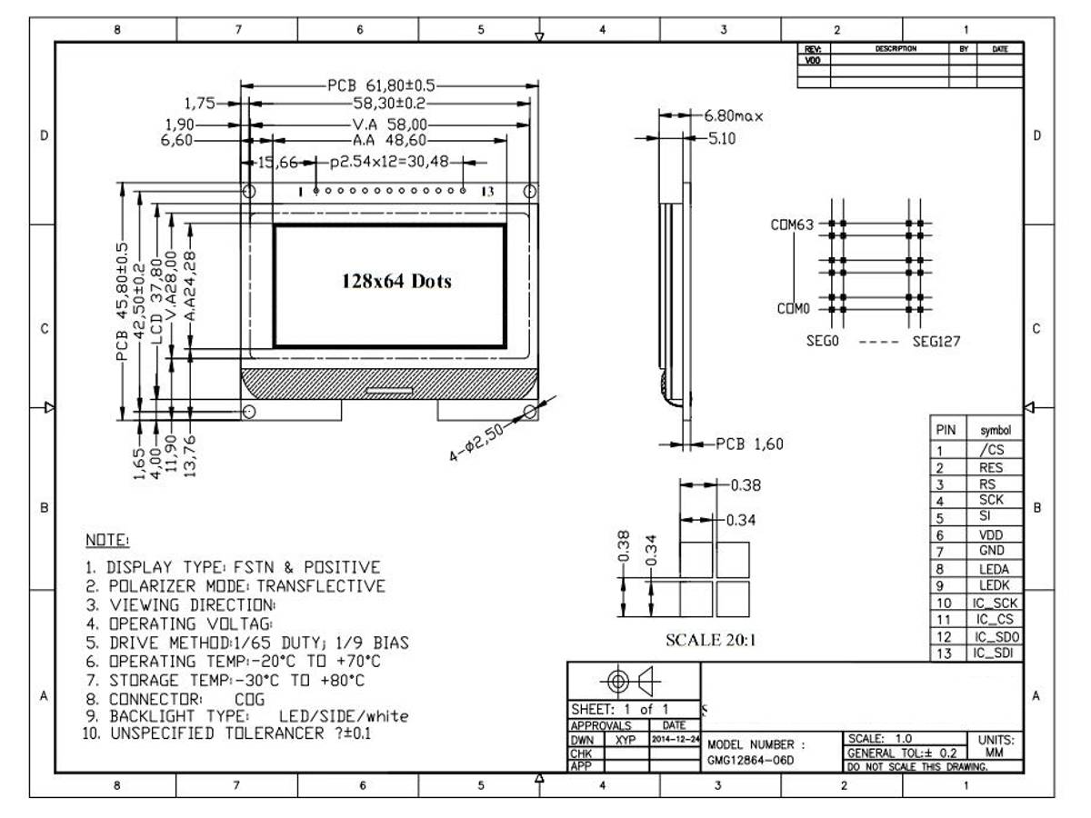 Graphic Lcd 128x64 Spi