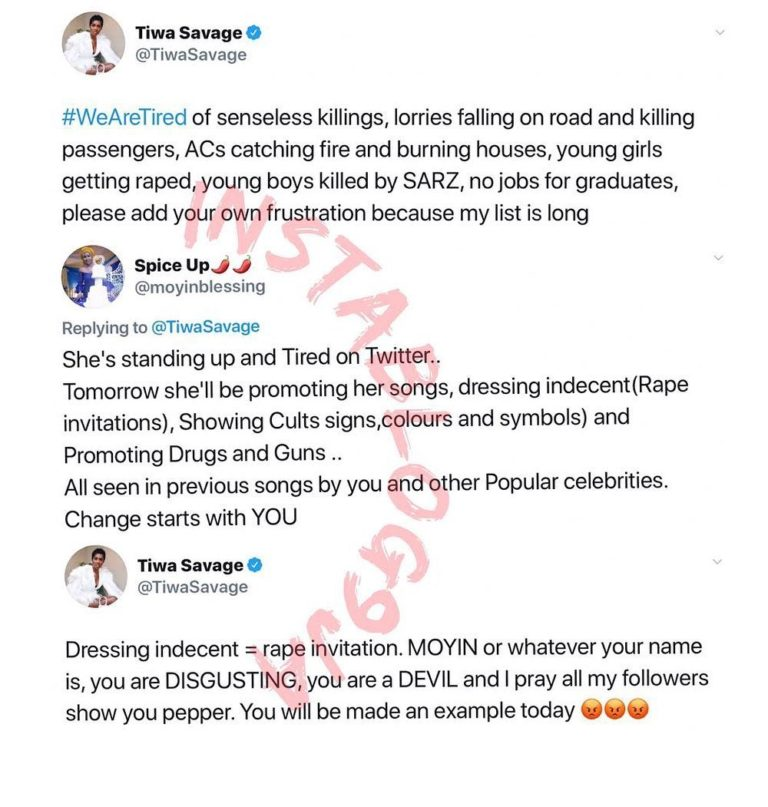 101657862_953625288422910_7387537823653800443_n-768x807-1 Tiwa Savage replies a lady who accused her of promoting rape, illicit drugs, cultism and violence with Her Songs