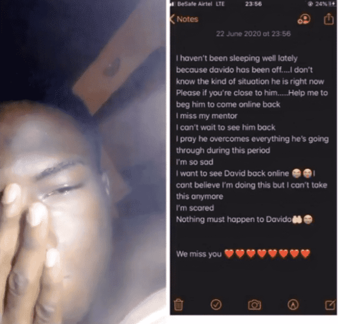 "Screenshot_2020-06-23-23-26-28-1 I haven't been sleeping well lately"" – Nigerian man begs Davido to come back online"