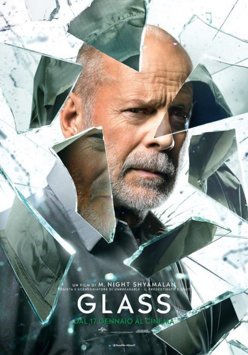 Specchi in frantumi nei poster italiani di Glass, il film di M. Night Shyamalan