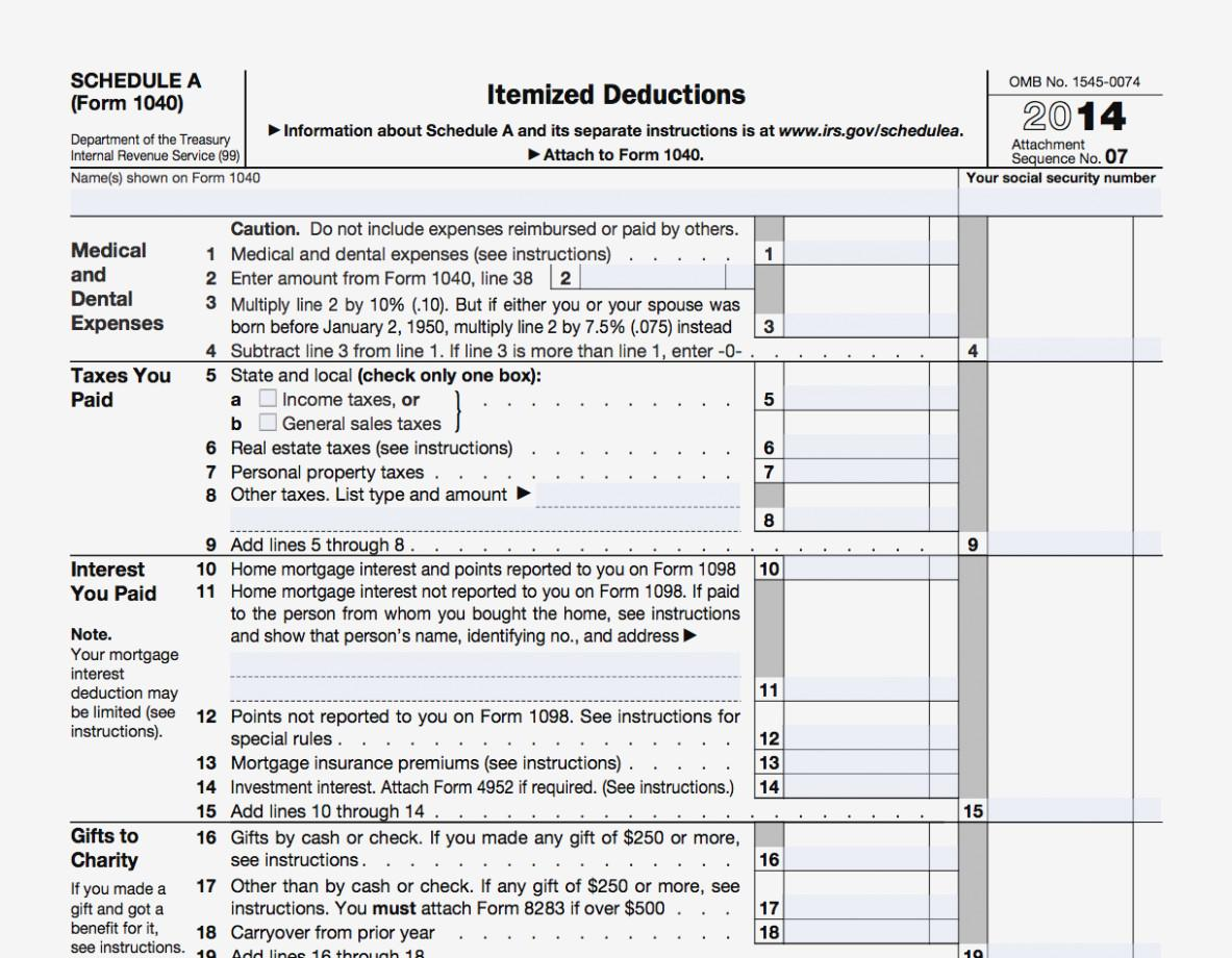 Tax Itemized Deductions Worksheet