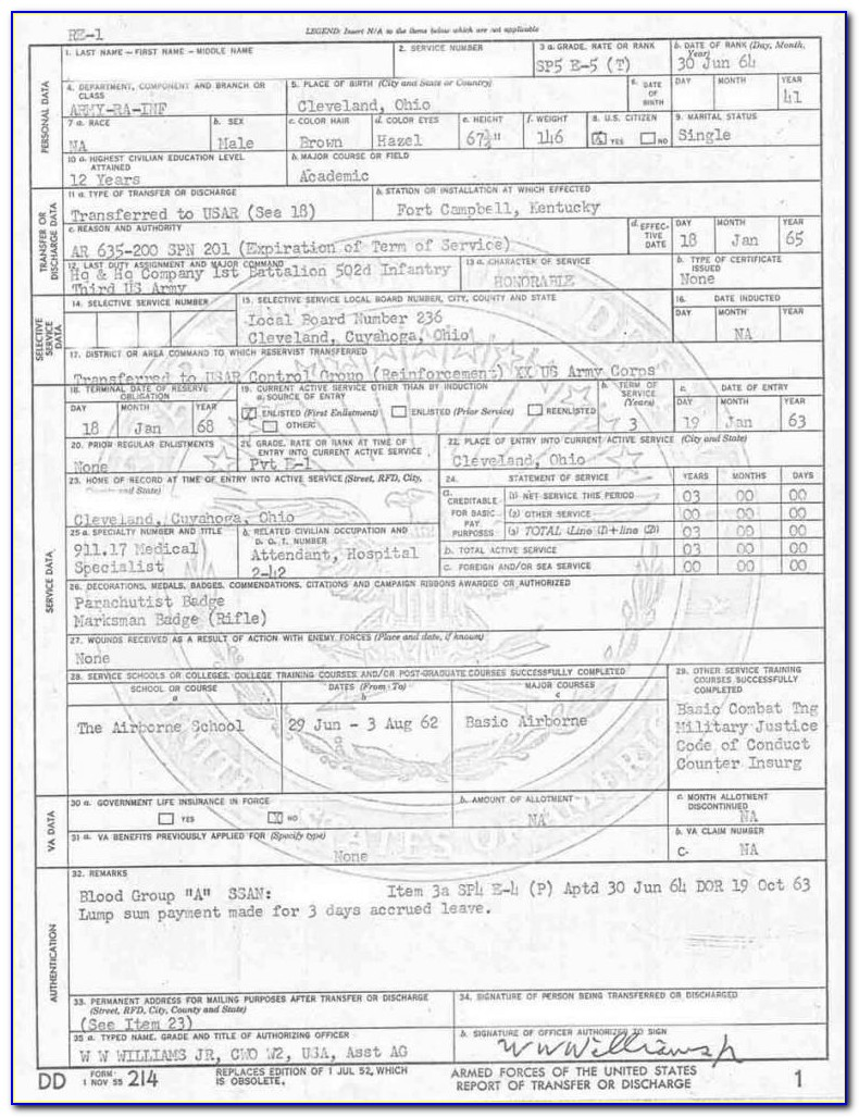 Military Discharge Papers Form Dd214  Universal Network