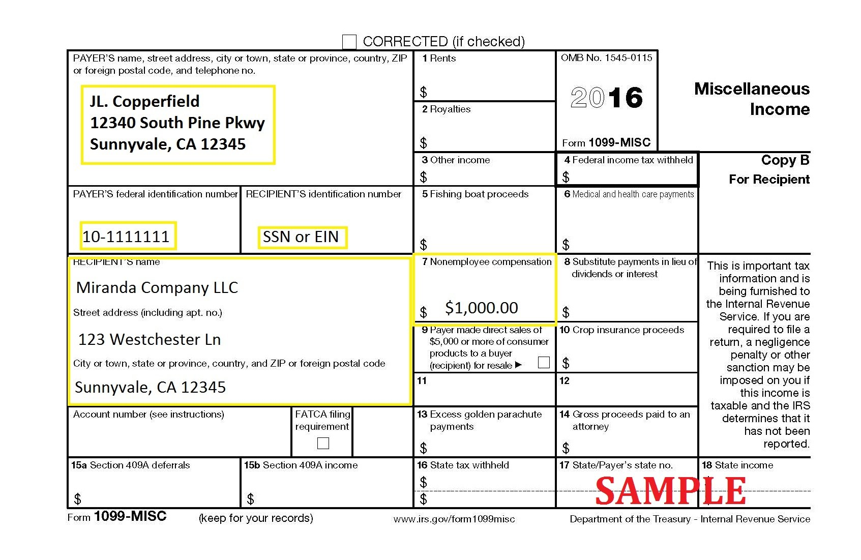 Irs Tax Form Misc Instructions