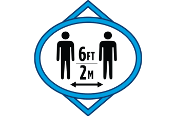Graphic of a floor marker showing 6 feet of space or 2 meters between persons.