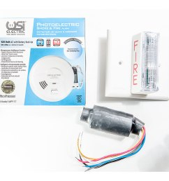 usi electric 2417 hardwired photoelectric smoke alarm strobe kit for hearing impaired [ 1000 x 1000 Pixel ]