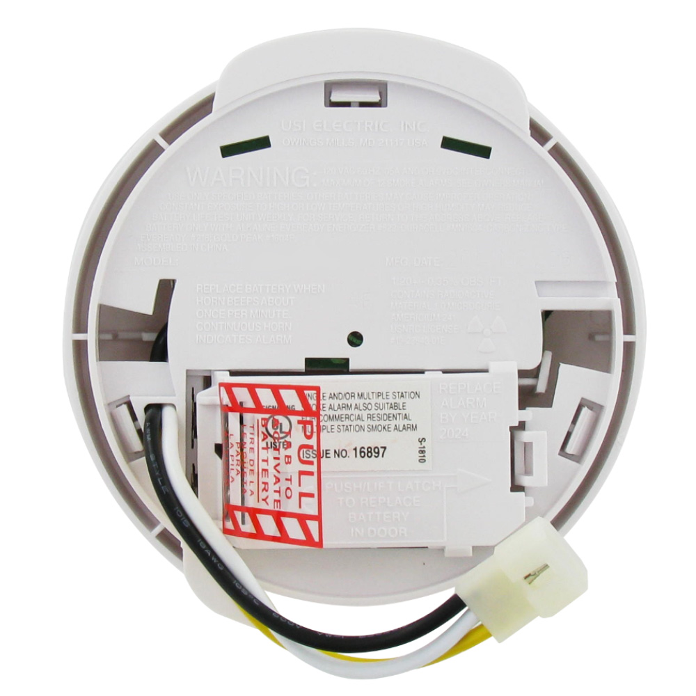 medium resolution of usi electric usi 1204 hardwired ionization smoke and fire alarm with backup battery