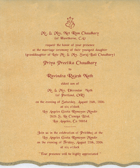 Indian Wedding Invitation Wording In English Paperinvite