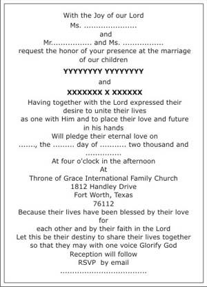 christian wedding invitation wordings