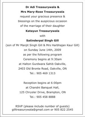 Sikh Wedding Invitation Wordings