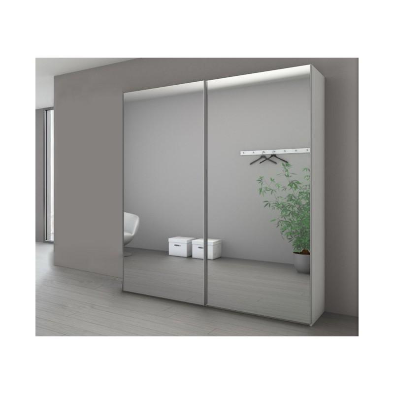 armoire marcato a 2 portes coulissantes miroir argent