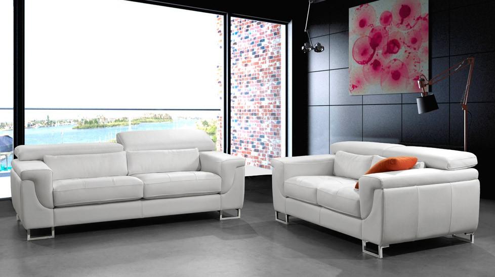 salon 5 places cuir blanc michel