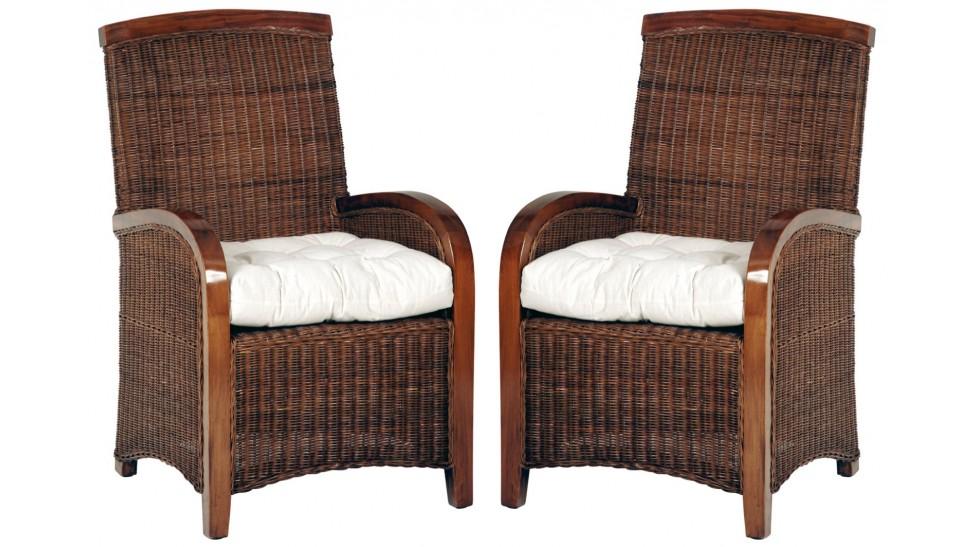 fauteuils rotin et acajou lot de 2 fauteuils