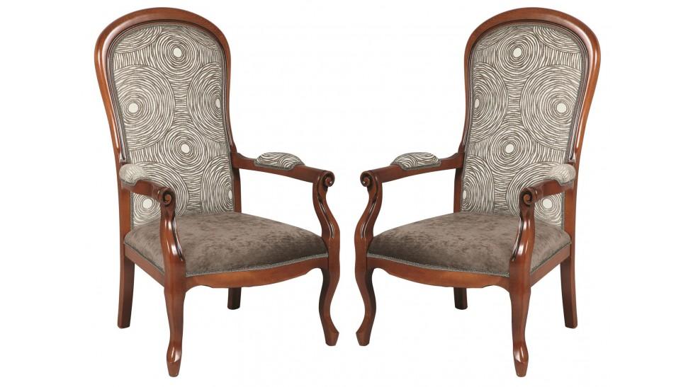 fauteuils voltaire velours marron clair x2