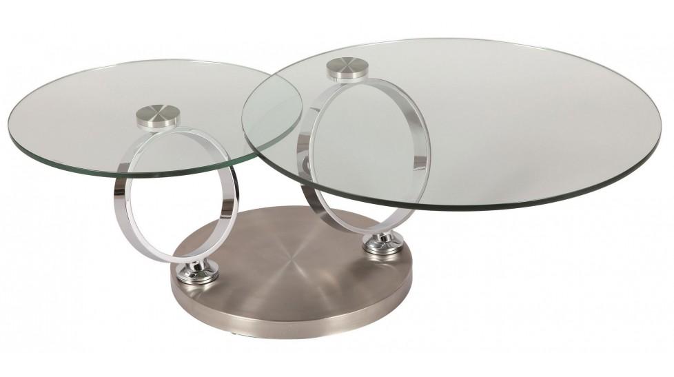 Table Basse Ronde En Verre Socle Inox