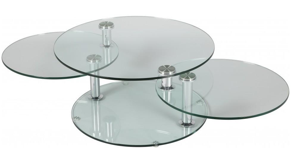 grande table basse en verre ronde plateaux table basse