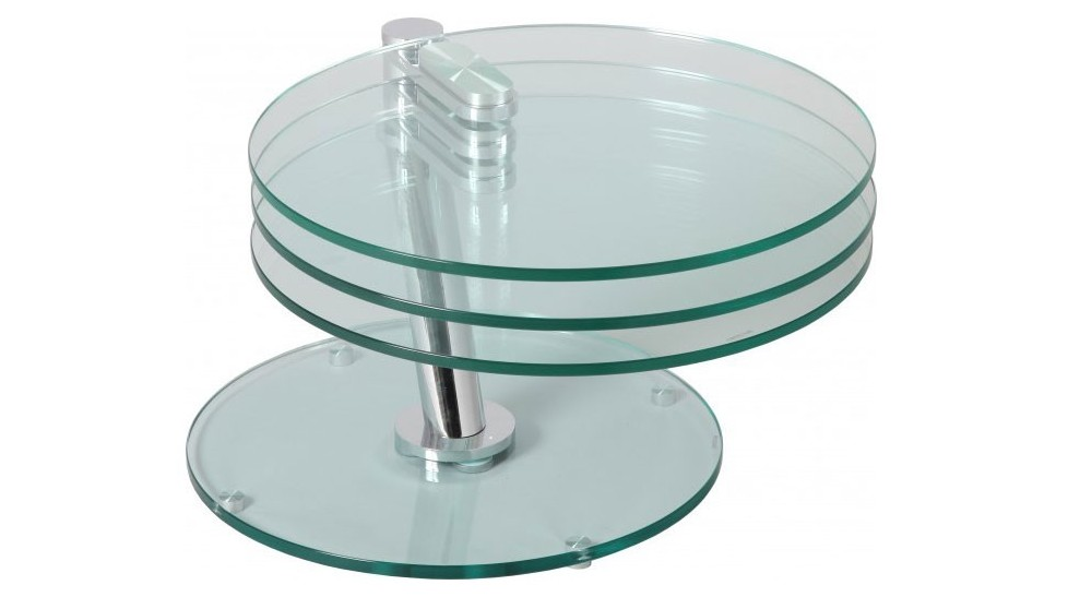Table Basse Ronde Articulee Plateaux Verre