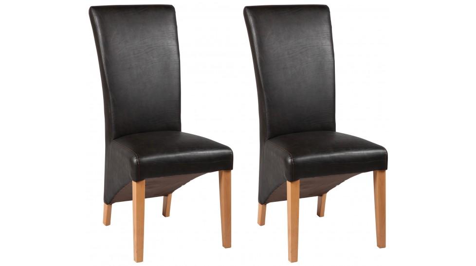 chaises simili cuir brun lot de 2 chaises design