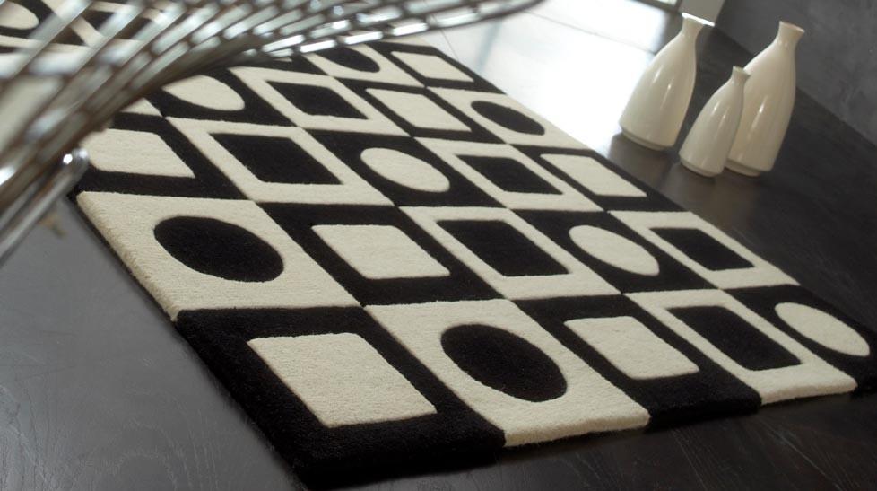 tapis 100 laine noir et blanc simbols