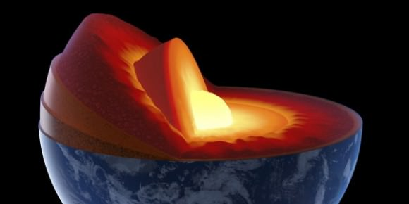 Artist's illustration of Earth's core via Huff Post Science