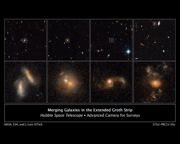 Pecios galácticos lejos de la Tierra: Estas imágenes de ACS del telescopio espacial Hubble de la NASA en 2004 y 2005 muestran cuatro ejemplos de galaxias en interacción lejos de la Tierra.  Las galaxias, que comienza en el extremo izquierdo, se muestran en las distintas etapas del proceso de fusión.  La fila superior muestra la fusión de galaxias que se encuentran en diferentes regiones de un amplio estudio conocido como el AEGIS.  vistas más detalladas están en la fila inferior de las imágenes.  (Crédito: NASA, ESA, J. Lotz, STScI; M. Davis, Universidad de California, Berkeley; y A. Koekemoer, STScI)