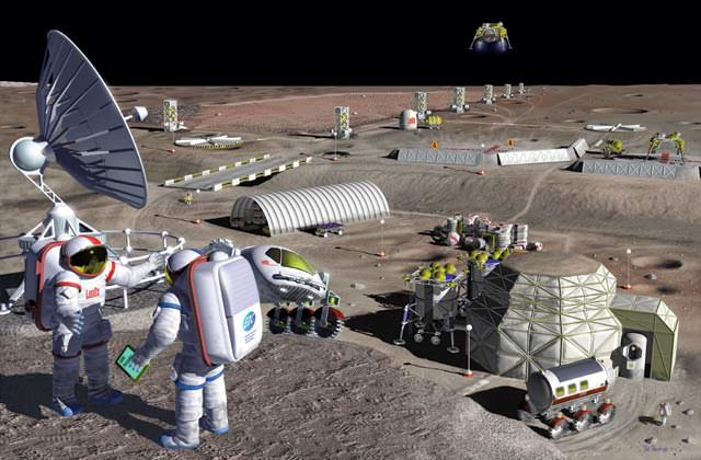 A lunar mining facility harvests oxygen from the resource-rich volcanic soil of the eastern Mare Serenitatis.