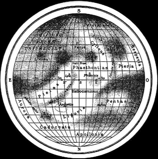 Mapa de Mercurio preparado por EM Antoniadi en la década de 1920. Crédito: airandspace.si.edu