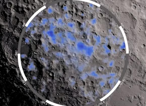 The blue areas show locations on the Moon's south pole where water ice is likely to exist (NASA/GSFC)