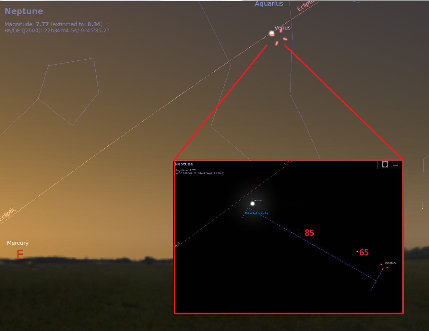 hight resolution of looking to the east the morning of april 12th from the u s east coast near latitude 30 degrees north nearby stars are annotated in red by magnitude with