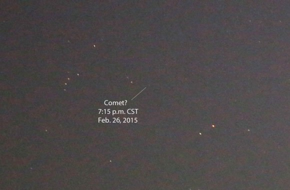 Photo taken last night (Feb. 26) with a 200mm lens at f/2.8 showing where the comet should have been found. I've marked a tenuous suspect. Details: 2-seconds at ISO 3200. Stars visible to about magnitude +10. Credit: Bob King