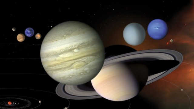 Our Solar System is a relatively, calm, sedate place compared to young solar systems. What might ours have looked like in its infancy? An illustration showing the 8 planets of the Solar System to scale Credit: NASA