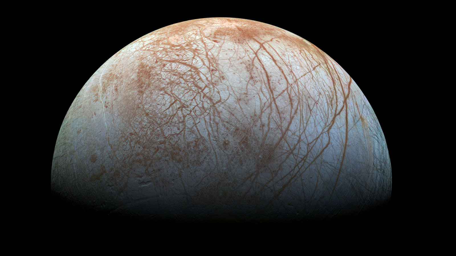 The fascinating surface of Jupiter's icy moon Europa looms large in this newly-reprocessed color view, made from images taken by NASA's Galileo spacecraft in the late 1990s. This is the color view of Europa from Galileo that shows the largest portion of the moon's surface at the highest resolution.  Credits: NASA/JPL-Caltech/SETI Institute