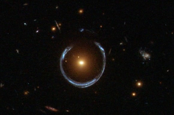 The notable gravitational lens known as the Cosmic Horseshoe is found in Leo. Credit: NASA/ESA/Hubble