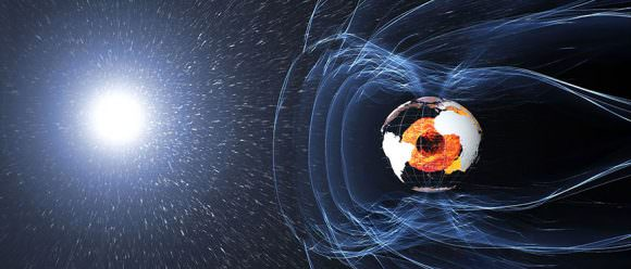 The magnetic field and electric currents in and around Earth generate complex forces that have immeasurable impact on every day life. The field can be thought of as a huge bubble, protecting us from cosmic radiation and charged particles that bombard Earth in solar winds. It's shaped by winds of particles blowing from the sun called the solar wind, the reason it's flattened on the