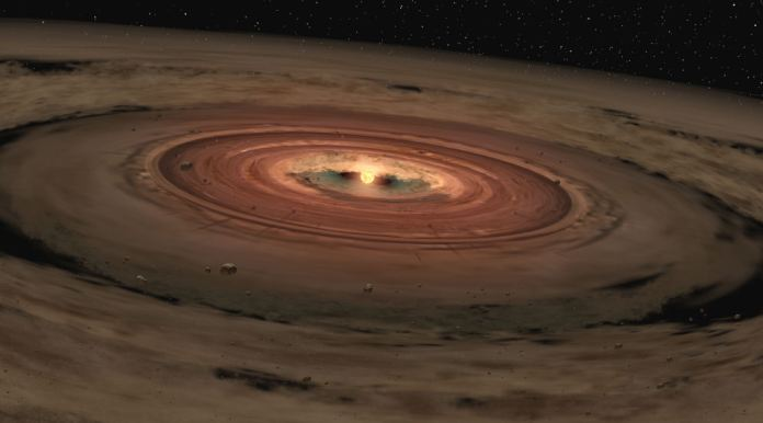 An illustration of a protoplanetary disk. Planets coalesce out of the remaining molecular cloud the star formed out of. Within this accretion disk lay the fundamental elements necessary for planet formation and potential life. Credit: NASA/JPL-Caltech/T. Pyle (SSC) - February, 2005