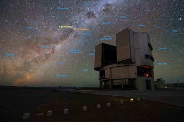 The foreground of this image shows ESO's Very Large Telescope (VLT) at the Paranal Observatory in Chile. The rich stellar backdrop to the picture includes the bright star Alpha Centauri, the closest stellar system to Earth. In late 2016 ESO signed an agreement with the Breakthrough Initiatives to adapt the VLT instrumentation to conduct a search for planets in the Alpha Centauri system. Such planets could be the targets for an eventual launch of miniature space probes by the Breakthrough Starshot Initiative. Credit: ESO