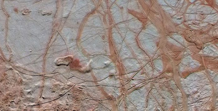 Images from NASA's Galileo spacecraft show the intricate detail of Europa's icy surface.
