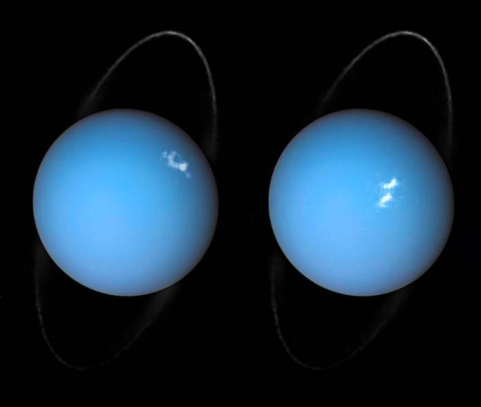 This is a composite image of Uranus by Voyager 2 and two different observations made by Hubble — one for the ring and one for the auroras. These auroras occurred in the planet's southern latitudes near the planet's south magnetic pole. Like Jupiter and Saturn, hydrogen atoms excited by blasts of the solar wind are the cause for the glowing white patches seen in both photos.