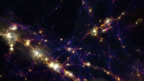 small resolution of the first results from the illustristng simulation of the universe has been completed showing how our cosmos evolved from the big bang