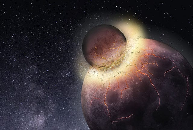 The chemicals that made life possible on Earth may have come from another planet that collided with Earth, forming the Moon. Image Credit: Rice University