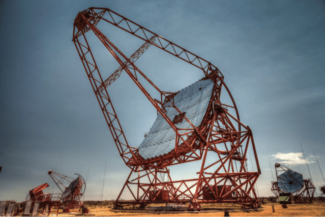 The large central telescope in the HESS array. It was responsible for the first detection a a gamma ray burst in very high energy gamma rays. Image Credit: MPIK / Christian Föhr