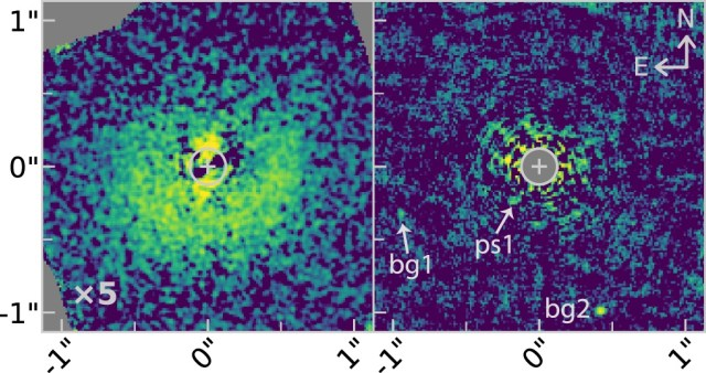 This is an image of the very young star HD 156623 and its disk. The researchers found no evidence of a hole in the disk, which would signal the presence of a planet if it were there. PS1 and bg1 and bg2 are point sources and background objects that aren't a part of the disk. Image Credit: Esposito et al, 2020.