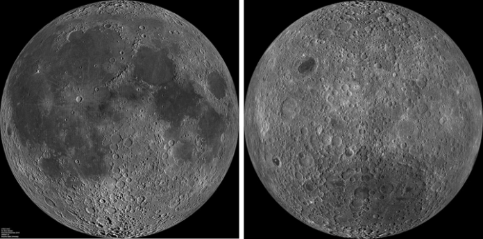 The near side of the Moon (left) and the far side of the Moon (right) Image credit: NASA