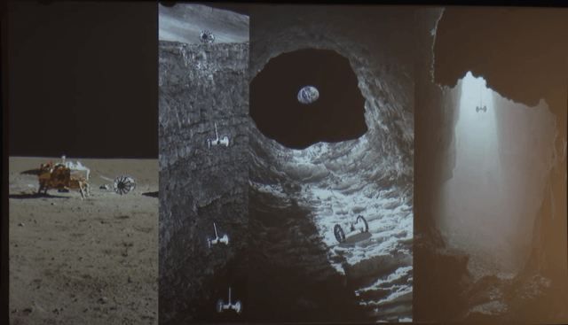 Four panels from a video presentation on the Moon Diver concept. From left to right: Rover is deployed from the lander, rover rappels down the hole, with Earth in the background, the rover hanging free as it's lowered to the floor. Though the concept was developed to explore the Moon, something similar would likely work on Mars. Image Credit: KISSCaltech