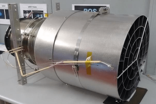 The test thruster built by Sitael. The intake, on the right, collects air molecules so that instead of simply bouncing away they are collected and compressed. The molecules collected by the intake are given electric charges so that they can be accelerated and ejected to provide thrust. Image Credit: ESA/Sitael