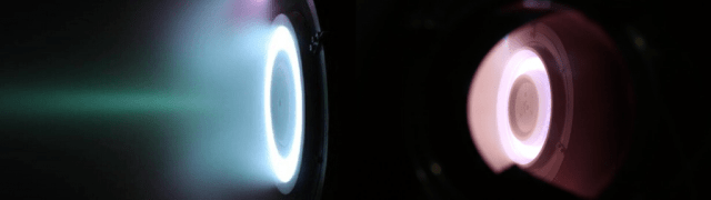 In the first stage of tests, they used xenon for fuel and it glowed blue. When they switched from xenon to oxygen-nitrogen, the color changed and they knew the test was successful. Image Credit: ESA/Sitael