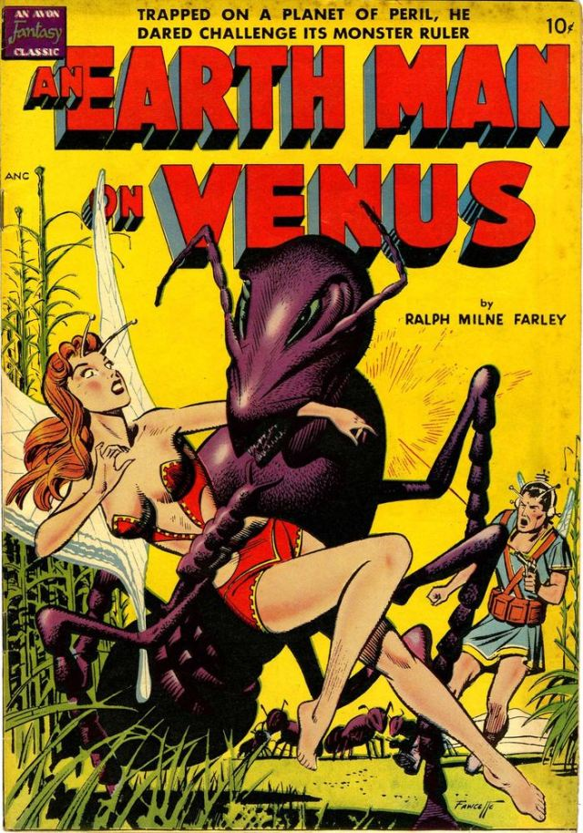 Prior to gaining a scientific understanding of Venus, it was anything goes for science fiction writers. This is an Avon comic book cover from 1950. By Gene Fawcette - Pulp covers, Public Domain, https://commons.wikimedia.org/w/index.php?curid=4320460