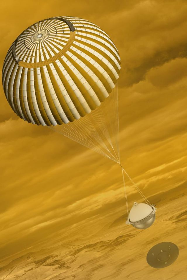 An artist's illustration of the DAVINCI lander. While it would do most of its work from the surface of Venus, it would also sample the atmosphere during its 63 minute descent. Image Credit: By NASA/GSFC - NASA/GSFC; http://science.gsfc.nasa.gov/690/photos.html, Public Domain, https://commons.wikimedia.org/w/index.php?curid=47317725