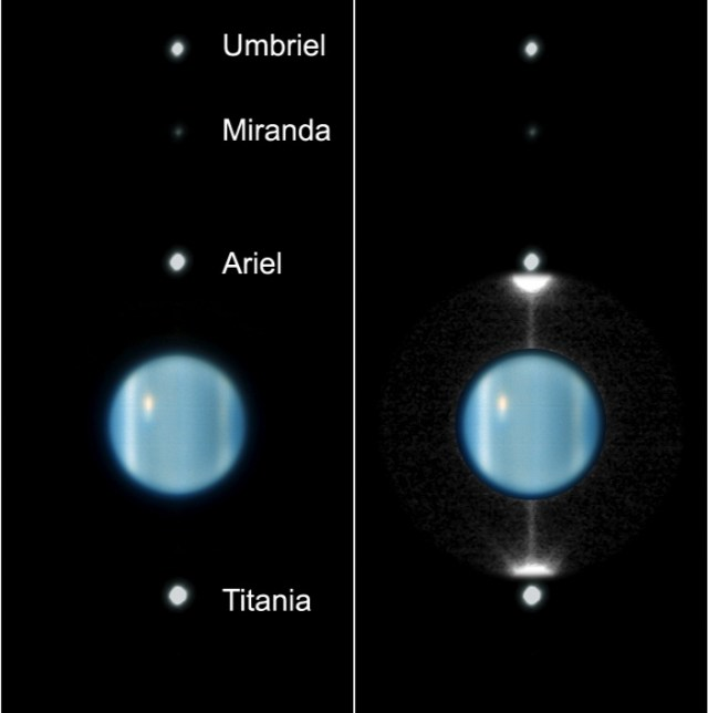 This false-color image from the ESO's Very Large Telescope show how Uranus and its moons are perpendicular to the Solar System's ecliptic. Image Credit: By European Southern Observatory - Peering at Uranus's Rings as they Swing Edge-on to Earth for the First Time Since their Discovery in 1977, CC BY 4.0, https://commons.wikimedia.org/w/index.php?curid=5159107