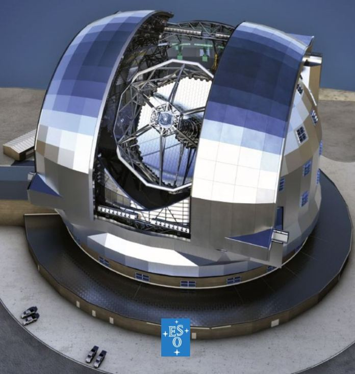 The ELT should see first light in 2024. This illustration shows the scale of the telescope, and also shows its segmented primary mirror, which is 39.3-metres in diameter (130-foot). Image Credit: ESO